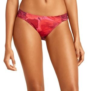Tommy Bahama poppy side shirred bikini bottom.